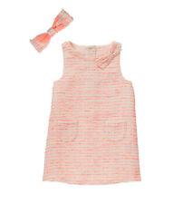 Janie Jack floral girl modern tweed neon orange dress bow 18 24 month 2T 4T