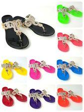 Womens Rhinestone Thong Flat Jelly Sandals