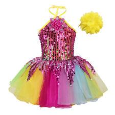 Mädchen Pailletten Kleid mit Armband Neckholder Tanzkleid Tüllrock Ballettkleid