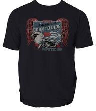 Born to ride t shirt garage motorcycle biker S-3XL