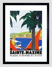 TRAVEL Sainte MAXIME FRANCIA WINTER Sun Resort Palm SEA incorniciato stampa b12x12371