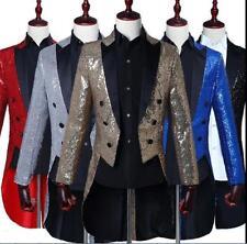 Men's Tuxedo Bling Sequins Suit Jacket Formal Tail Coat Dress Club Jacket Blazer