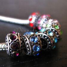 7PCs Wholesale Mix Rainbow Colors Crystal Spacers For European Charm Bracelets