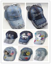 9abc9e05009 Women Rhinestone Crystal Studded Adjustable Baseball Cap Summer Snapback  Sun Hat