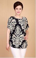 Women Printed Chiffon Top T Shirt Blouse Loose Short Sleeve Blouse UK Seller