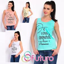 Mujer Camiseta MY stique Estampado Informal Sin Mangas Algodón Tallas 8-14 FB60