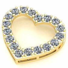 2ct Round Cut Not Enhanced Diamond Ladies Valentine Heart Pendant Solid 18K Gold