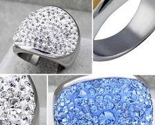 Anillo de acero inoxidable corazón circonita pedrería rockabilly dedo anillo corazones rs30k