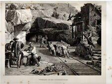 Stampa antica TUNNEL San GOTTARDO in costruzione 1876 Old Print Switzerland