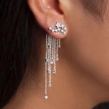 Shooting Crystal Bling Star Rhinestone Long Tassels Drop Hook Dangle Earrings BS