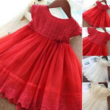 Kids Girl Short Sleeve Lace Flower Dress Princess Dress Button Pure Color Suit U