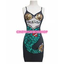 USA Women Sleeveless  Body con Cartoon Mermaid Sequin Sexy Street Festival Dress