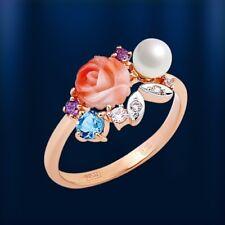 Russische Rose Rotgold 585 RING mit Koralle, Perle und Edelsteinen Neu  Glänzend