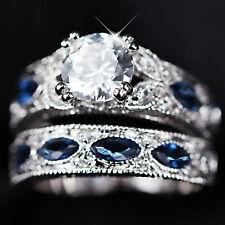 9K WHITE GOLD GF SIMULANT DIAMOND SAPPHIRE ETERNITY BRIDAL LADY WEDDING RING SET