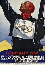 TU68 Vintage German Germany 1936 Winter Olympic Games Travel Poster Re-Print A4