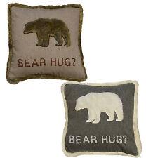 Housse de coussin & tampon interne bear hug gris/blanc ou beige/marron