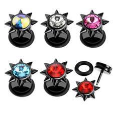 """Fake Plug Taper """"SPIKE"""" 6mm Kristall 5 Farben oder Set -- PIERCINGS von COOLBODY"""