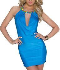 Sexy señora mini vestido trendy brillo piedras dress S/M 34/36 M/L 36/38 azul Nuevo