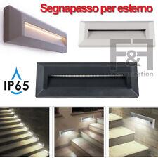 SEGNAPASSO LED PER ESTERNO INTERNO RETTANGOLARE IP65 GRIGIO NERO BIANCO VTAC LED