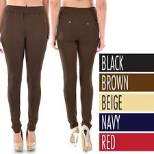 Women's MOLETON Pants Leggings Back Pockets Stretchable Cotton Spandex ONE SIZE