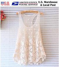 Lace Floral Sleeveless Crochet Vintage Women Vest Tank Top T Shirt Beach 005c