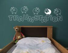 Wandtattoo Traumstation, Kinderzimmer, Schafe, Schlan Deko Sticker, Familie