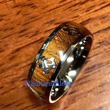 HAWAII Hawaiian Koa Wood Stainless Steel Band Ring Turtle Honu 8mm Comfort Fit