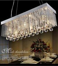 Deluxe Rectangle Crystal Pendant Light Bar Lamp RainDrop Lighting Chandelier LED