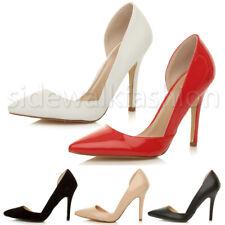Mujer Damas Tacón Alto en punta abierta recortar d 'Orsay Fiesta Trabajo Tribunal Zapatos Talla