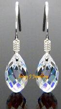 Tiny Clear AB Crystal Teardrop Earrings Swarovski Elements .925 Sterling Silver