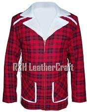 Deadpool Ryan Reynolds Red Faux Shearling Fur Checkered Jacket Coat
