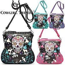 Sugar Skull Day of the Dead Crossbody Handbag Women Purse Concealed Carry Pocket
