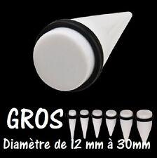 PIERCING ECARTEUR expander BLANC EN ACRYLIQUE GROS DIAMETRE DE 12 mm à 30 mm