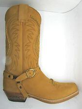 Sendra 3434 Cowboy Boots Men's Tan Nubuck Leather Western Biker Handmade