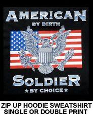New listing American Pride Soldier By Choice Peace War Eagle Flag Zip Hoodie Sweatshirt W612