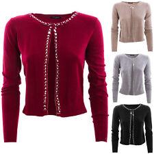 Giacca donna pull cardigan maniche lunghe maglione strass perline nuovo 10089