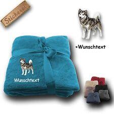Flauschige Kuscheldecke Decke Hund Alaskan Malamute + Wunschtext, 180x130cm