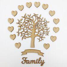 Wooden Blank MDF Family Tree Kit Set of 14 Heart shapes Banner & 'Family' 17.5cm
