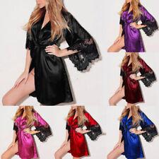 Women Sexy Silk Satin Sleepwear Nightwear Robe Babydoll Kimono Nigh Gown Dress