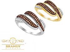 10K GOLD BEAUTIFUL BRANDY & WHITE DIAMOND CHOCOLATE BROWN ELEGANT RING .35CT