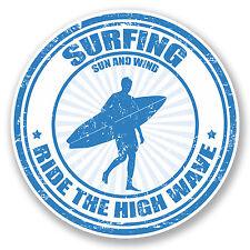 2 X 10 Cm Surfing pegatina de vinilo calcomanía Ipad Laptop Car Tabla De Surf Surf Wave # 5491