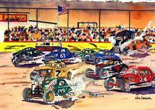 STOCK CAR RACING ART PRINT ( Short Track NASCAR Hot Rat Rod Sprint Midget Driver