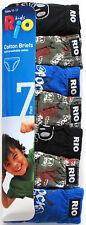 Rio Boys Soft Breathable Cotton Briefs Underwear sizes 8 10 12 (7 Pack)