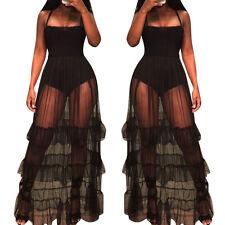 Ladies Womens Summer mesh Boho Long Maxi Evening Party Cocktail Beach Dress NEW