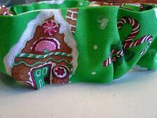 Slide On Christmas Dog Collar Scrunchie Cotton Custom Made by Linda XS S M L