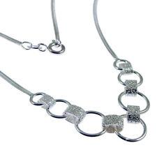 Nueva Plata Serpiente Cadena Collar & plain/frosted enlaces