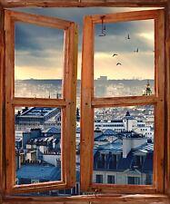 Stickers fenêtre trompe l'oeil déco Toits de Paris réf 5253