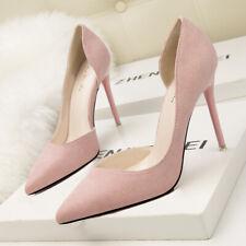 decolte donna 10 scamosciate stiletto eleganti rosa cipria simil pelle 9661