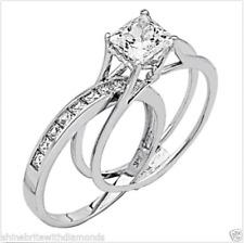 2 Ct Princess Cut 2 Piece Engagement Wedding Ring Band Set Solid 14K White Gold