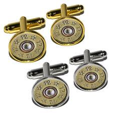 12 Gauge Spent Shell Bullet Ammo Gun Round Cufflink Set